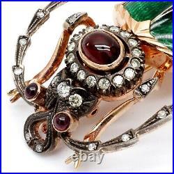 FABERGE Era Russian Brooch Pin Gold Diamond Guilloche Enamel Beetle Romanov Tsar