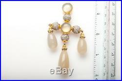 FARAONE MENNELLA $22,500 50ct Moonstone VS D Diamond 18k Gold Brooch Pin 44g