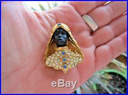 FLORENZA Blackamoor Nardi Jeweled Gold Crystal Rhinestone Brooch Pin Vintage