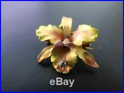 Fabulous Art Nouveau 14K Gold Enamel Guilloche Diamond Orchid Flower Brooch Pin