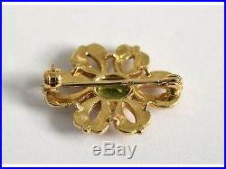 Fine 9ct gold Victorian design peridot and seed pearl brooch pin