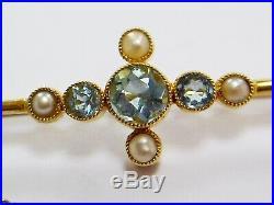Fine Antique Edwardian 15ct Gold Aquamarine & Seed Pearl Bar Brooch/pin & Box