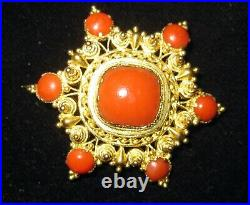 Fine Antique Georgian Early Victorian Coral & Gold Cannetille Brooch Pin