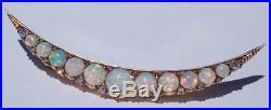 Fine BIG Antique Victorian 15K Gold Fiery Opal Diamond Crescent Moon Brooch Pin