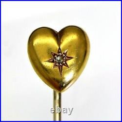 Fine Victorian Diamond Puffy Heart 15ct Yellow Gold Stick Pin Brooch