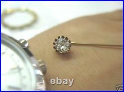 Fine Vintage Old Mine Cut Diamond Pin Yellow Gold 0.50CT