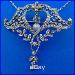 French Edwardian Platinum Diamond 18k Rose Gold Brooch Pin Pearl Necklace
