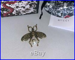 GUCCI Antique Gold Bee Brooch Pin with White Pearl