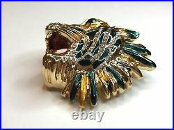 GUCCI Rajah Tiger Designer Crystal & Enameled Gold Tone Brooch Pin