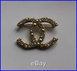 Genuine Chanel gold & pearl CC brooch pin