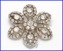 Georgian 1820's 18K Yellow Gold/Silver 8.50 ctw Diamond Flower Brooch Pin 11.9 g