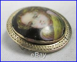 Georgian Antique Miniature Hand Painted Porcelain Child Portrait Gold Brooch Pin