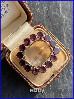 Georgian Foiled Flat Cut Garnet Brooch Crystal Back Yellow Gold Pin