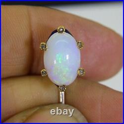 Georgian Opal Rose Cut Diamond Blue Enamel Gold Stick Pin Brooch