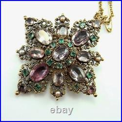 Georgian Pin Brooch 18K Gold Topaz Emerald Natural Pearl 18th Century Jewelry