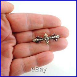 Georgian Victorian Antique Silver & Gold Bohemian Garnet Pearl Brooch Pin
