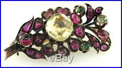 Georgian Yellow Sapphire Ruby and Emerald 10k Rose Gold Branch Silver Brooch Pin