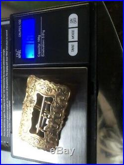 Gold Solid 14kt verified heirloom piece inscribed buckle brooch pin 16.69 grams