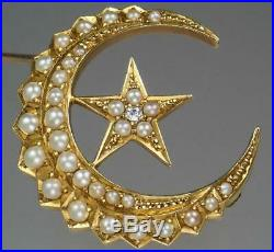 Gorgeous Antique Victorian 18K Gold Diamond Pearl Crescent Moon Star Brooch Pin