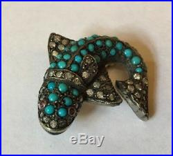 Gorgeous Victorian Antique Gold & Silver Turquoise Diamond Set Fish Brooch Pin