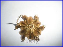 Great Vintage 18k Gold Sapphire Modernist Flower Designer Signed Gk Brooch Pin