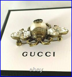 Gucci Crystal Aged Gold Tone Bee Brooch Pin With Pearl