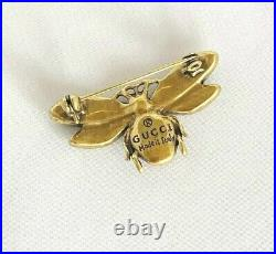 Gucci Crystal and Pearl Aged Gold Tone Bee Brooch Pin