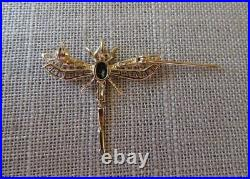 HDS 14K Solid Y Gold Sapphire Diamond Dragonfly Brooch Pin Pendant FlexibleTail