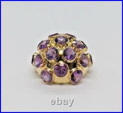 H. Stern Vintage 18k Yellow Gold Large Round Amethyst Sputnik Pin Brooch With Box