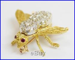 Herbert Rosenthal Small Bee Brooch Pin 18k Yellow Gold 1.0ctw Diamonds Ruby