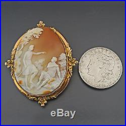 Huge Antique Solid Rose & Yellow Gold, Carved Shell Cameo Estate Pin Brooch