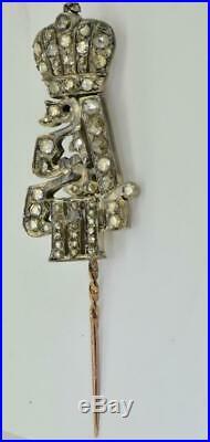 Imperial Russian Faberge 14k gold&Diamonds award Alexander III Cypher pin brooch