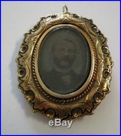 Incredible 14k Gold Large Brooch Pin Locket Cameo Antique Photograph Rotating