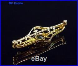 Incredible Antique Art Deco 14k Yellow Gold Natural Peridot & Pearl Brooch Pin