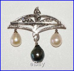 Japanese 14K White Gold Brooch Pin w. 3x Pearls & 59x Diamonds by Mikimoto (RgR)