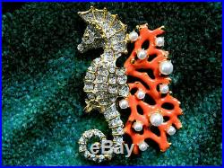 Kenneth Jay Lane Crystal Gold Pearl Dots Coral Branch Seahorse Brooch Pin