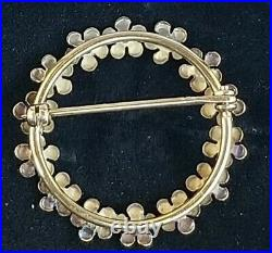 Krementz 14K Gold Enamel Circle Forget Me Not Flower Pin Brooch-Estate Jewelry