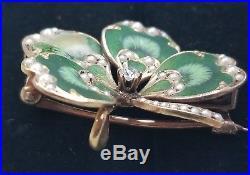 Krementz Antique 14k Gold Diamond Pearl Enamel Clover Pendant Brooch Watch Pin