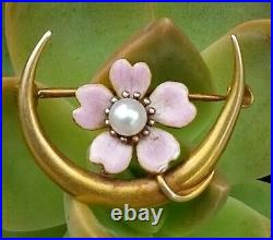 Krementz Antique Art Nouveau 14k Gold Pearl Enamel Moon Flower Brooch Pin 2.3g