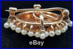 Krementz Antique Swallow Maiden Pearl Diamond Brooch Watch Pin Pendant 8.8 gm