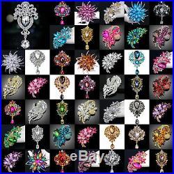 LOT of 50 Gorgeous Large Silver Gold Rhinestone Glass Brooch Pin Pendant Wedding