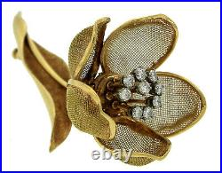 Ladies Vintage French 18K 750 Yellow Gold Flower Diamond Pin Brooch