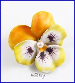 Large 14k Gold Vintage Yellow Enamel Pearl Pansy Flower Brooch Pin 12.7 Grams