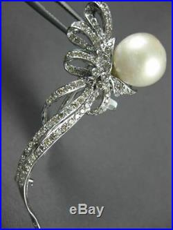 Large. 87ct Diamond & Aaa South Sea Pearl 18kt White Gold 3d Flower Brooch Pin