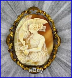 Large Antique Shell Cameo Brooch Pin Carved in Italy Pinch Beck Gold 1880s