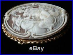 Large Antique Shell Cameo God Goddess Bacchanalian Scene Gold Brooch Pin