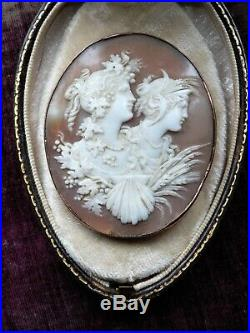 Large Fine Antique Victorian Shell Cameo Double Portrait Goddess Gold Brooch Pin
