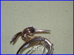 Large TRIFARI Alfred Philippe Gold Plated Sterling Heron Jelly Belly Brooch Pin