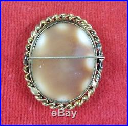 Large Victorian Carved Shell Cameo Gold Filled Brooch / Pin Rebecca at the Well