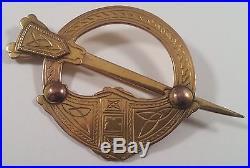 Large Vintage 9K Gold Celtic Scottish Penannular Pin Brooch 9ct